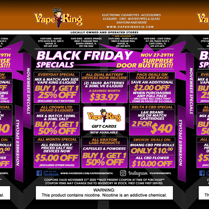 The cooler weather has arrived and so has our great November / Black Friday specials!
